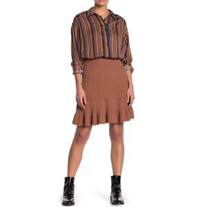 Free People Ribbed Knit Ruffle Mini Skirt in Cocoa